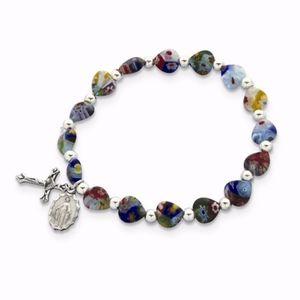 Multi-Color Heart Bead Cross Bracelet